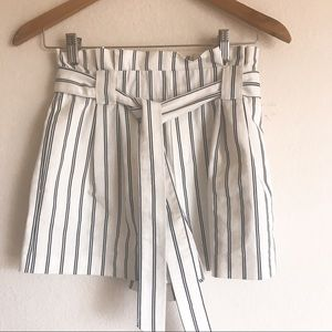 Zara striped high waist belted shorts XS